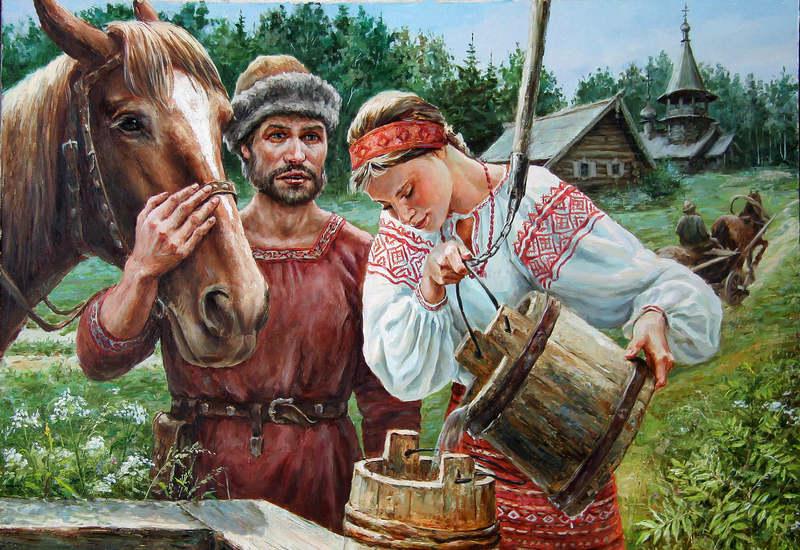 конь пьёт из колодца
